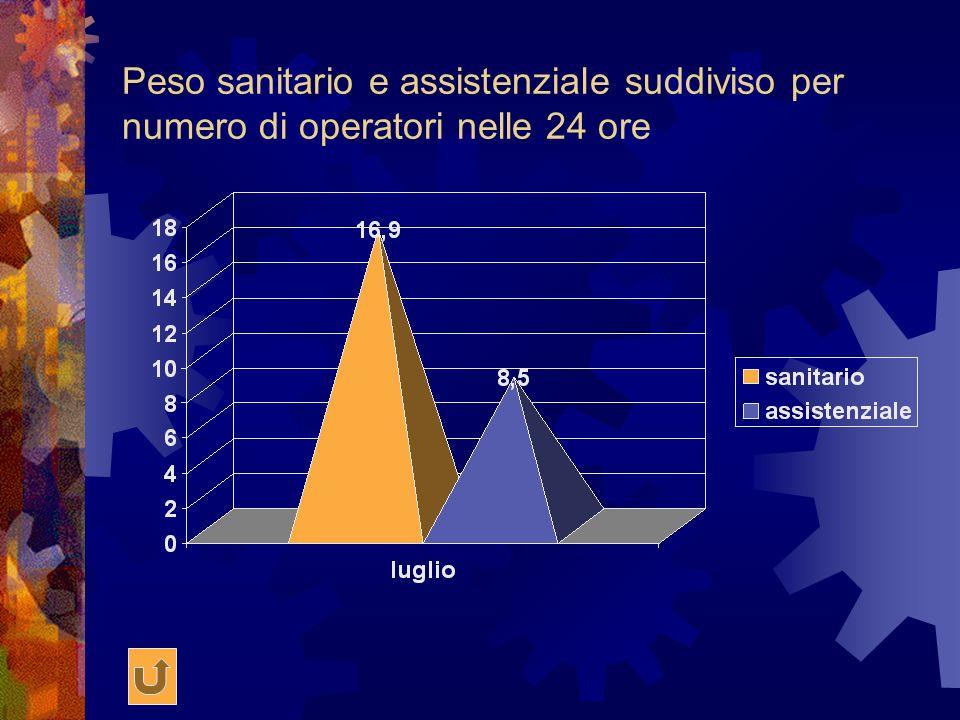 Peso sanitario e assistenziale suddiviso per numero di operatori nelle 24 ore