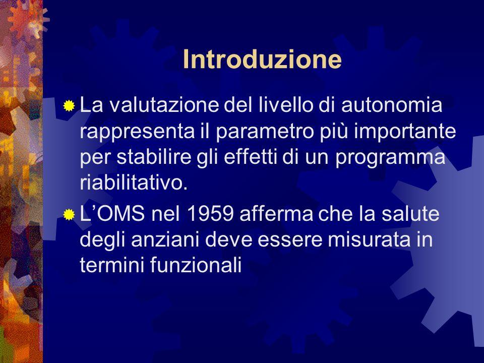 Introduzione La valutazione del livello di autonomia rappresenta il parametro più importante per stabilire gli effetti di un programma riabilitativo.