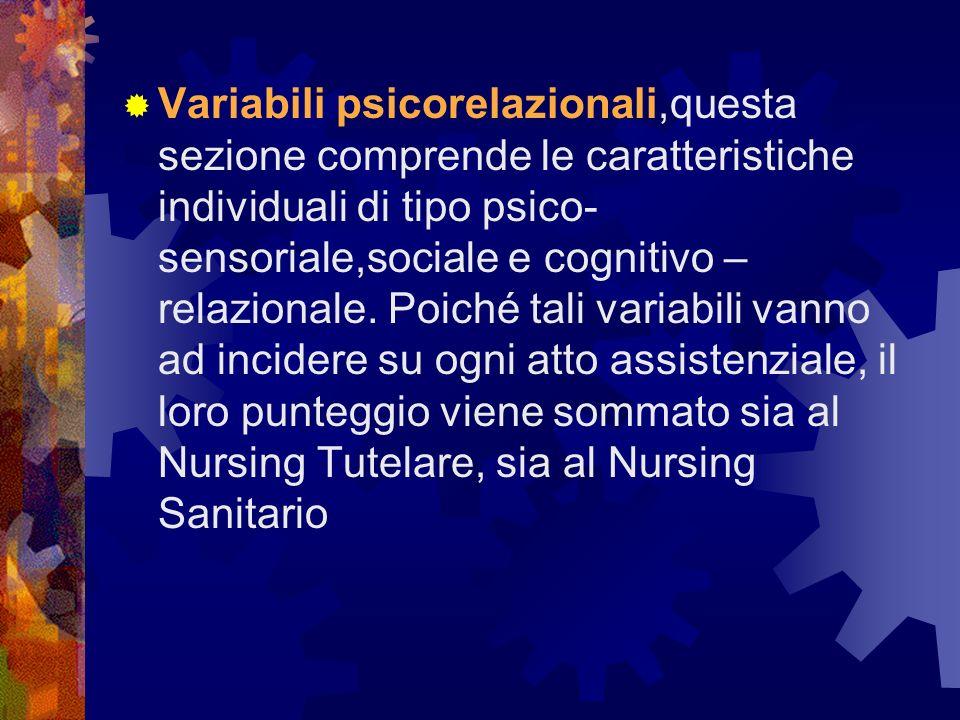 Variabili psicorelazionali,questa sezione comprende le caratteristiche individuali di tipo psico- sensoriale,sociale e cognitivo – relazionale.