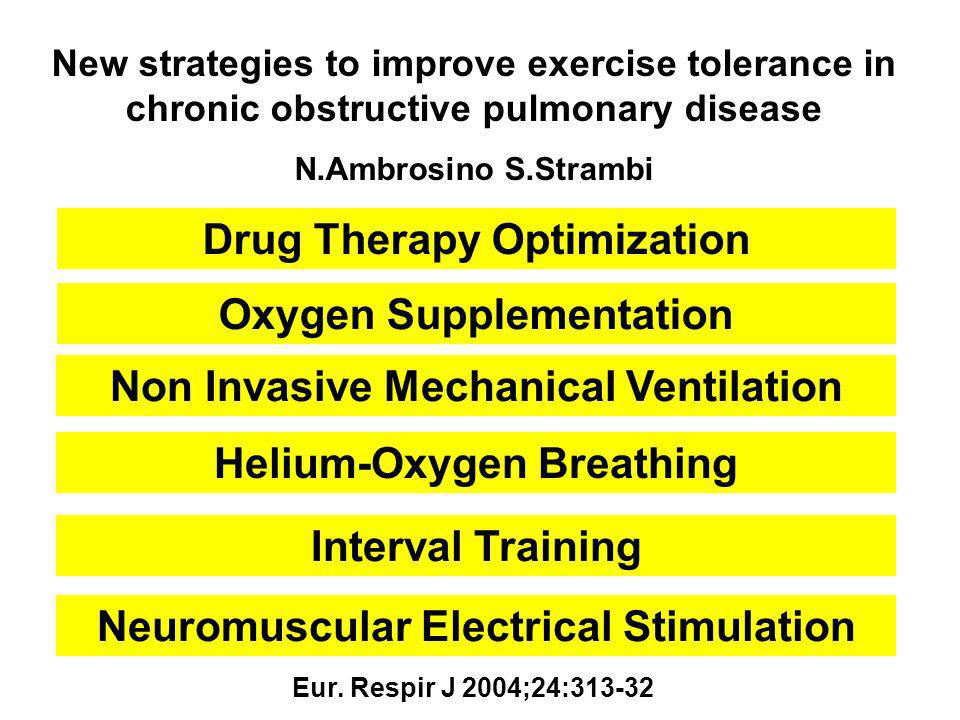 New strategies to improve exercise tolerance in chronic obstructive pulmonary disease N.Ambrosino S.Strambi Eur. Respir J 2004;24:313-32 Oxygen Supple