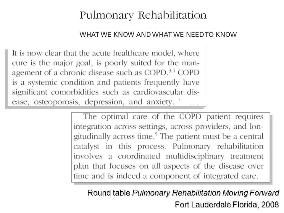 Round table Pulmonary Rehabilitation Moving Forward Fort Lauderdale Florida, 2008
