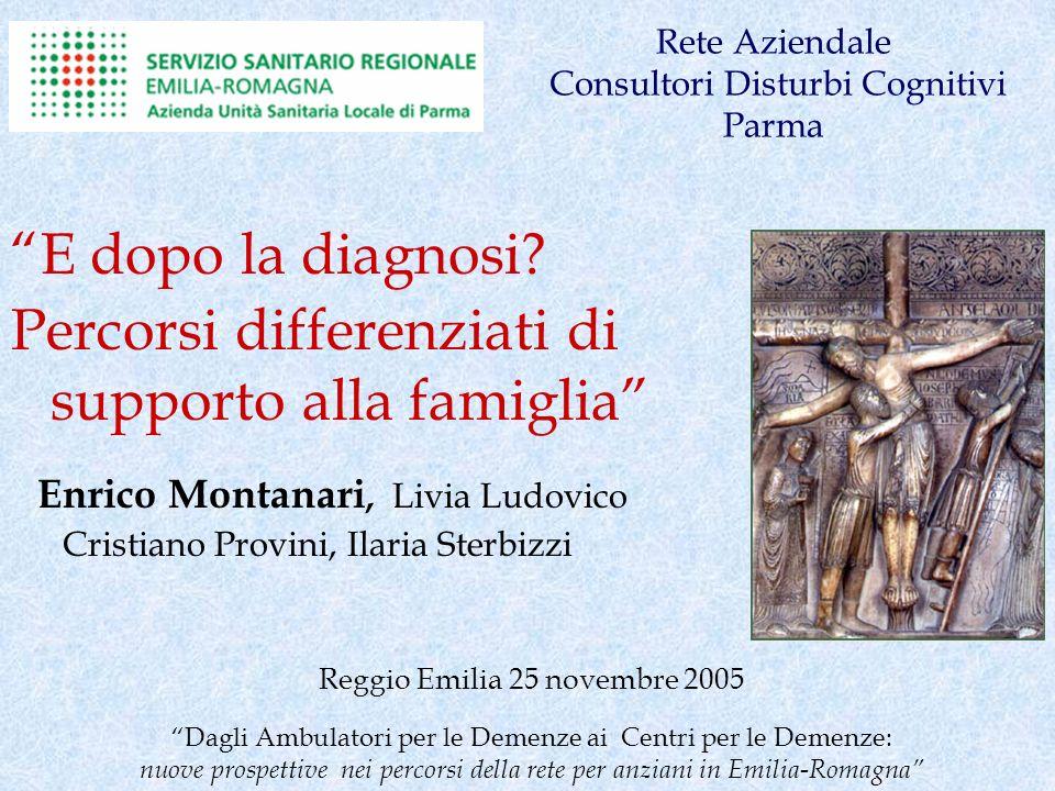 Rete Aziendale Consultori Disturbi Cognitivi Parma E dopo la diagnosi? Percorsi differenziati di supporto alla famiglia Enrico Montanari, Livia Ludovi
