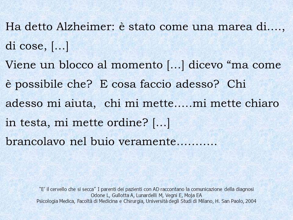 Ha detto Alzheimer: è stato come una marea di…., di cose, […] Viene un blocco al momento […] dicevo ma come è possibile che? E cosa faccio adesso? Chi