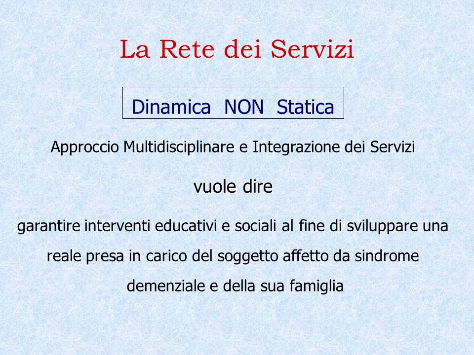La Rete dei Servizi Dinamica NON Statica Approccio Multidisciplinare e Integrazione dei Servizi vuole dire garantire interventi educativi e sociali al