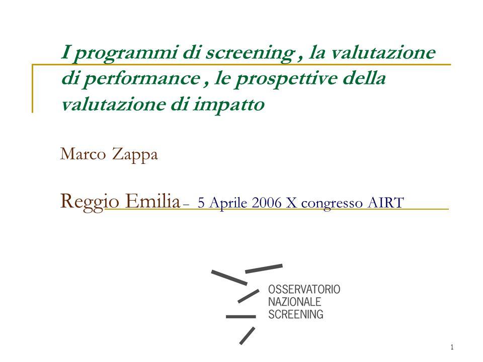 1 I programmi di screening, la valutazione di performance, le prospettive della valutazione di impatto Marco Zappa Reggio Emilia – 5 Aprile 2006 X congresso AIRT