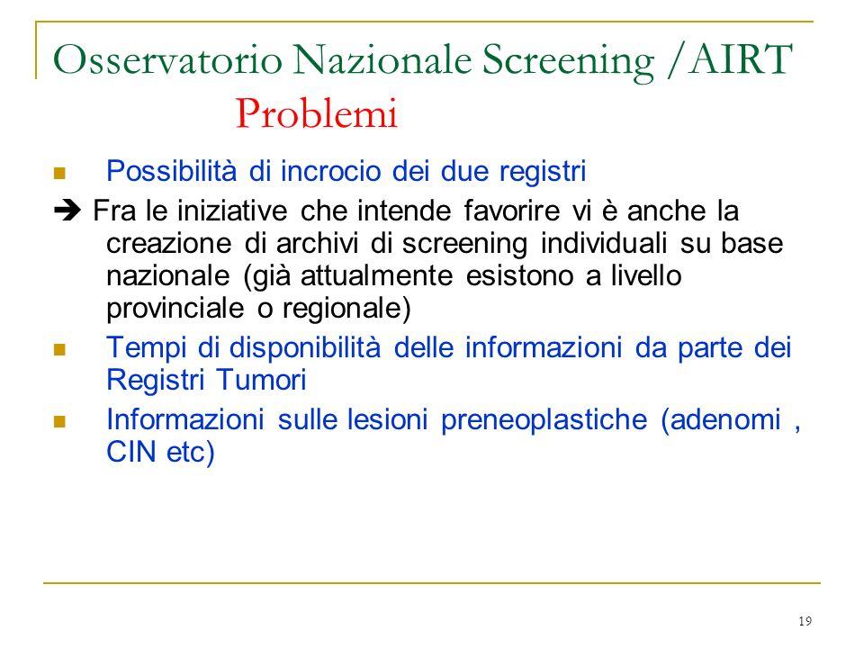 19 Osservatorio Nazionale Screening /AIRT Problemi Possibilità di incrocio dei due registri Fra le iniziative che intende favorire vi è anche la creaz
