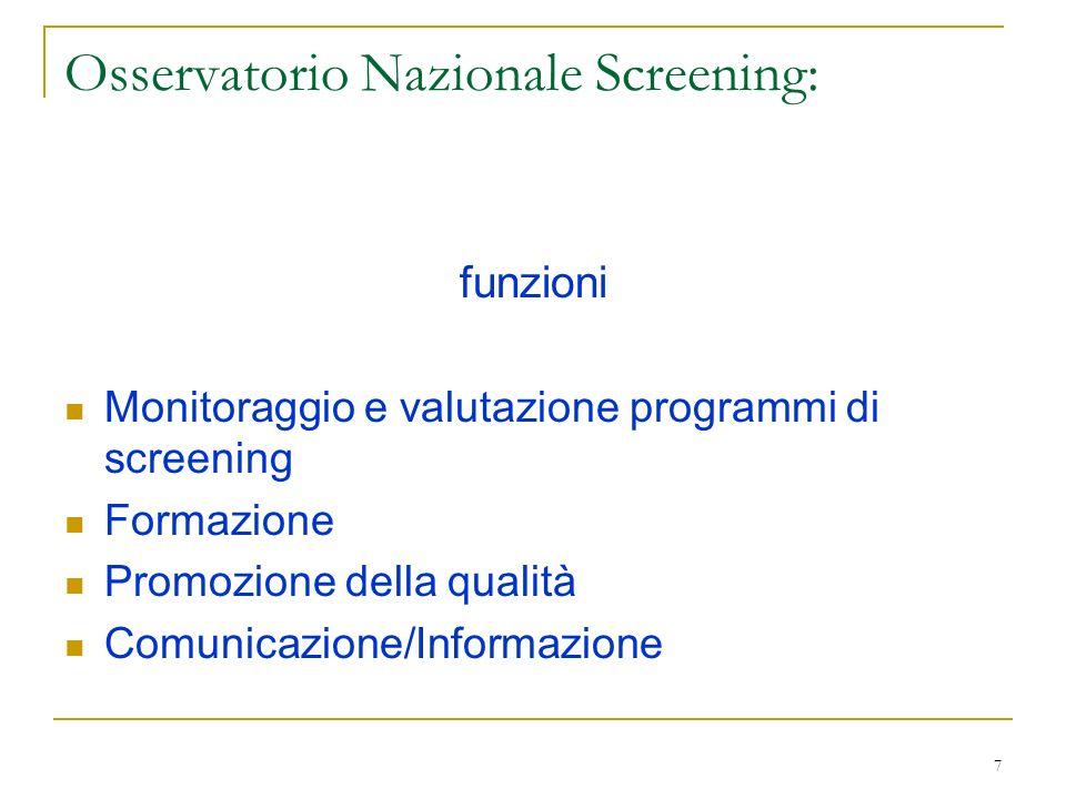 7 Osservatorio Nazionale Screening: funzioni Monitoraggio e valutazione programmi di screening Formazione Promozione della qualità Comunicazione/Infor