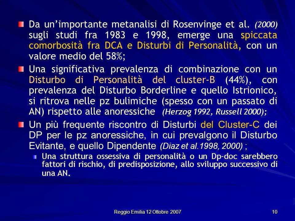 Reggio Emilia 12 Ottobre 2007 10 Da unimportante metanalisi di Rosenvinge et al. (2000) sugli studi fra 1983 e 1998, emerge una spiccata comorbosità f
