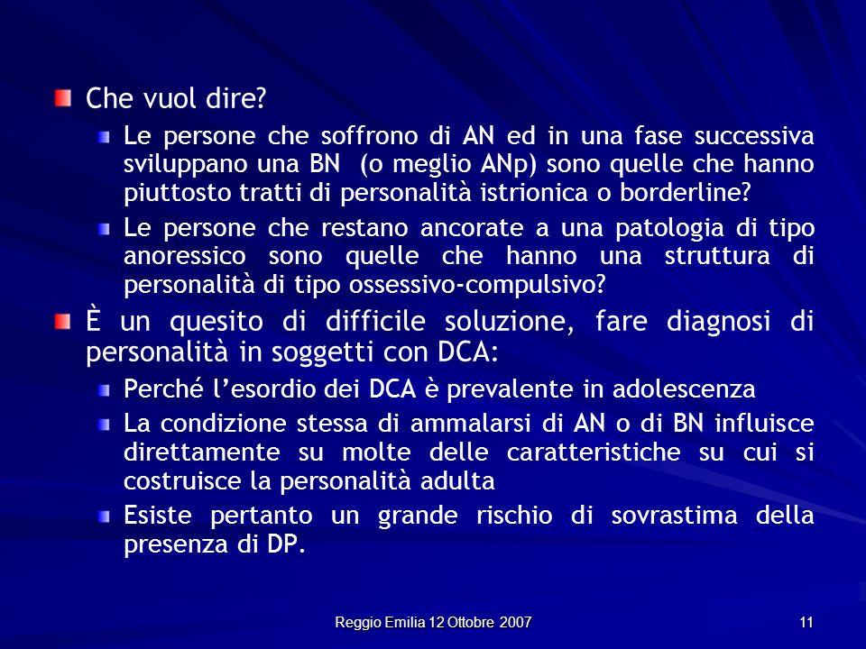 Reggio Emilia 12 Ottobre 2007 11 Che vuol dire? Le persone che soffrono di AN ed in una fase successiva sviluppano una BN (o meglio ANp) sono quelle c