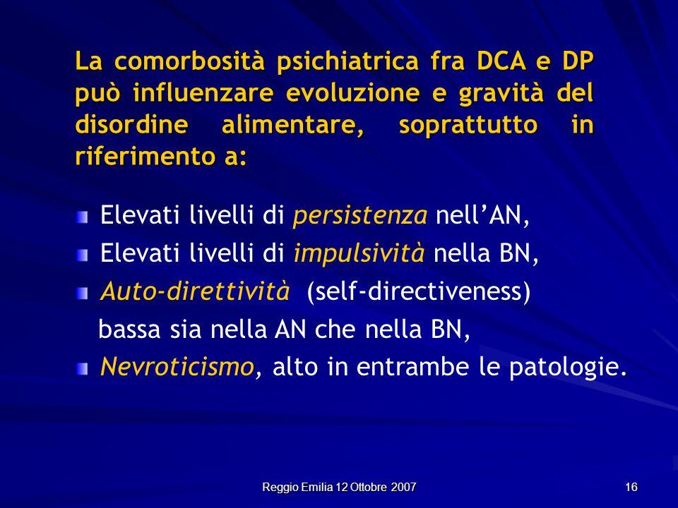 Reggio Emilia 12 Ottobre 2007 16 La comorbosità psichiatrica fra DCA e DP può influenzare evoluzione e gravità del disordine alimentare, soprattutto i