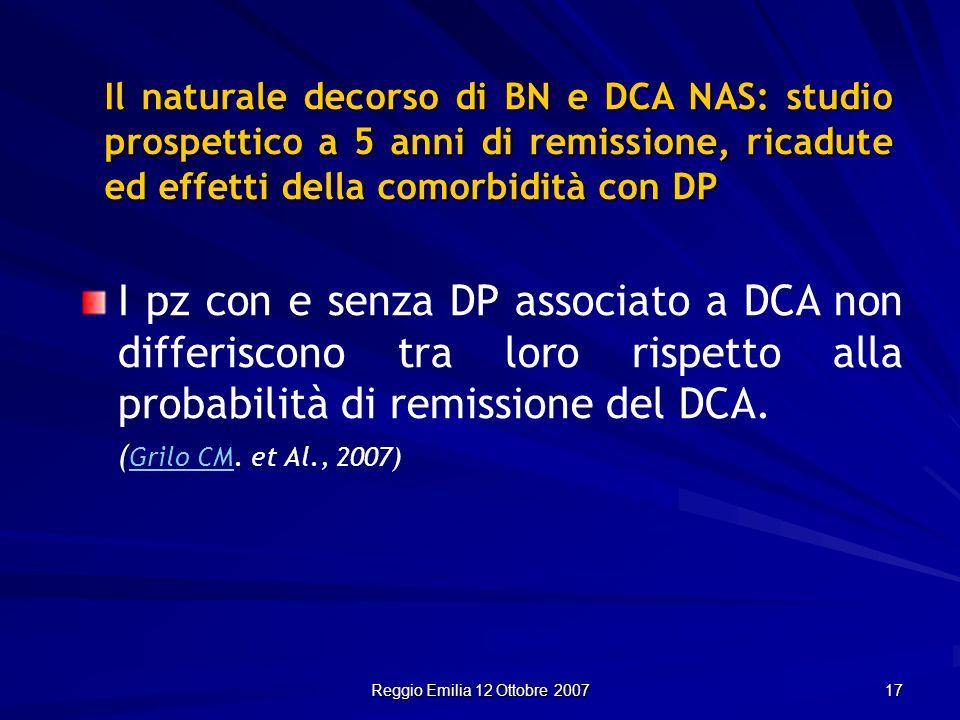 Reggio Emilia 12 Ottobre 2007 17 Il naturale decorso di BN e DCA NAS: studio prospettico a 5 anni di remissione, ricadute ed effetti della comorbidità