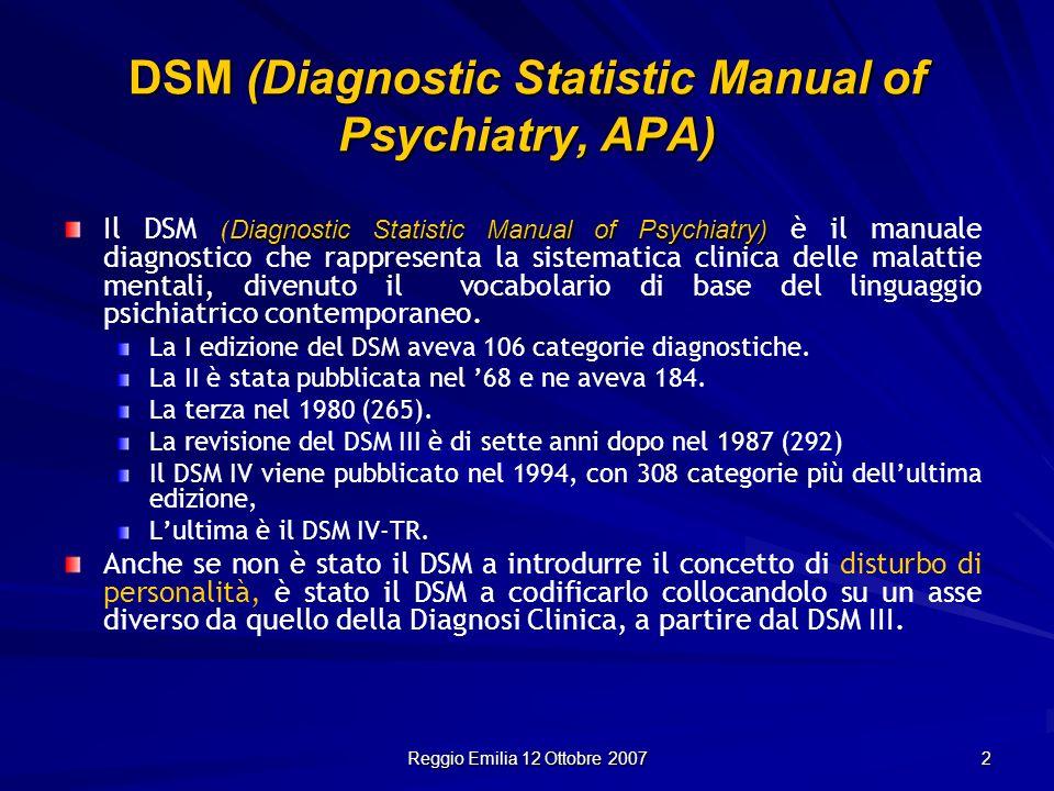 Reggio Emilia 12 Ottobre 2007 3 Fino al 1968 pertanto i DP rientravano tra le diagnosi psichiatriche, a partire dal DSM III (dal 1980) sono state distinte le diagnosi di Asse I e le diagnosi di Asse II e questa divisione è rimasta fino ad oggi.