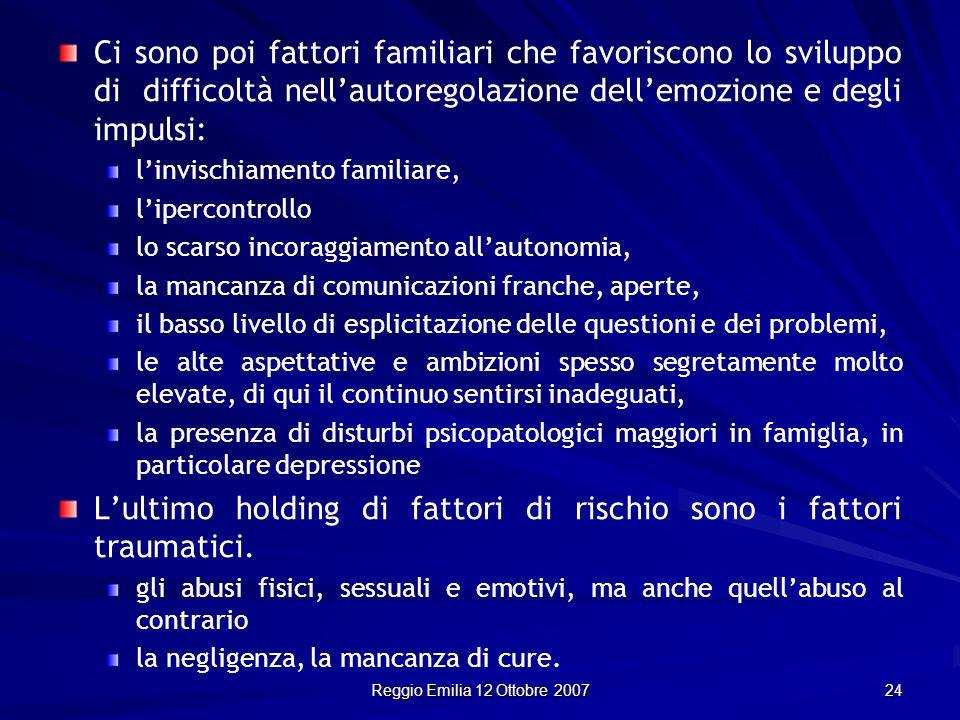 Reggio Emilia 12 Ottobre 2007 24 Ci sono poi fattori familiari che favoriscono lo sviluppo di difficoltà nellautoregolazione dellemozione e degli impu