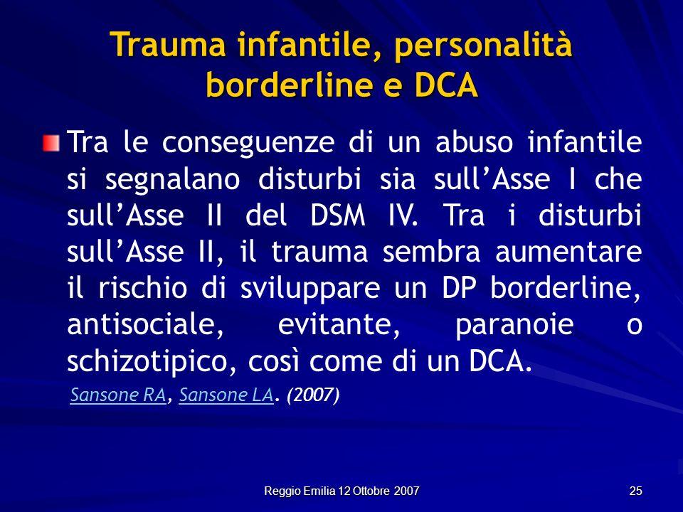 Reggio Emilia 12 Ottobre 2007 25 Trauma infantile, personalità borderline e DCA Tra le conseguenze di un abuso infantile si segnalano disturbi sia sul