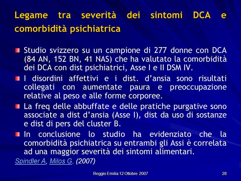 Reggio Emilia 12 Ottobre 2007 28 Legame tra severità dei sintomi DCA e comorbidità psichiatrica Studio svizzero su un campione di 277 donne con DCA (8