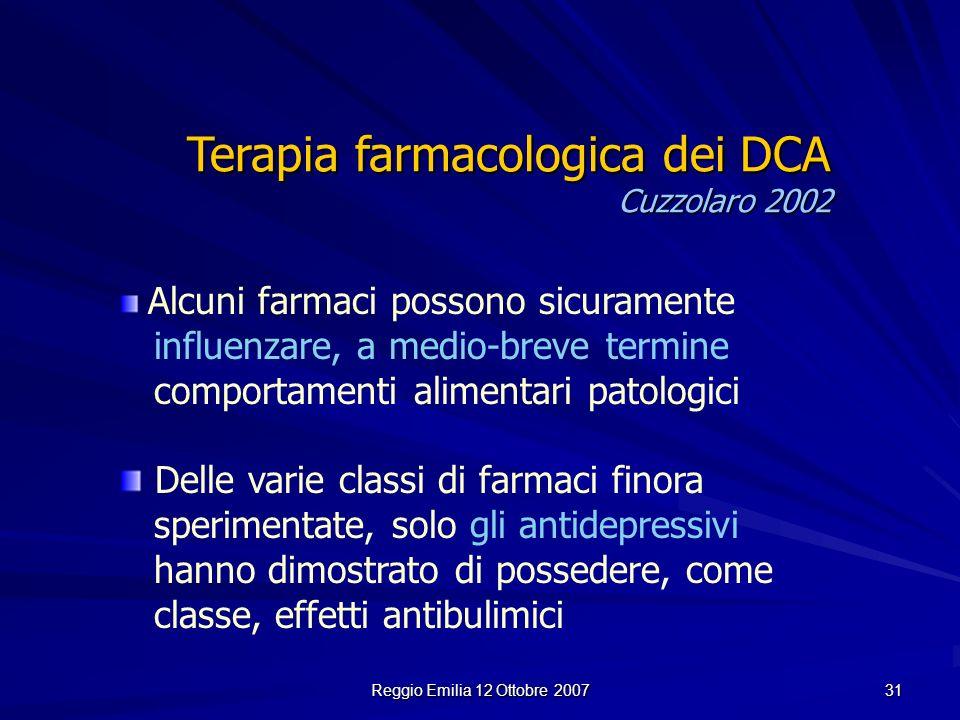 Reggio Emilia 12 Ottobre 2007 31 Alcuni farmaci possono sicuramente influenzare, a medio-breve termine comportamenti alimentari patologici Delle varie