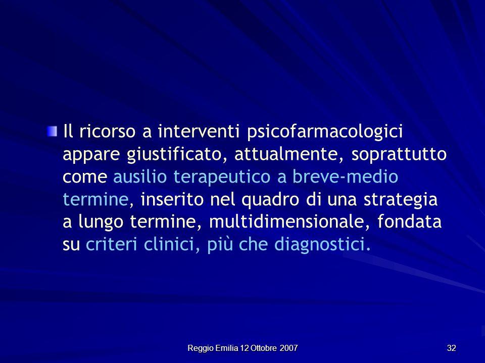 Reggio Emilia 12 Ottobre 2007 32 Il ricorso a interventi psicofarmacologici appare giustificato, attualmente, soprattutto come ausilio terapeutico a b