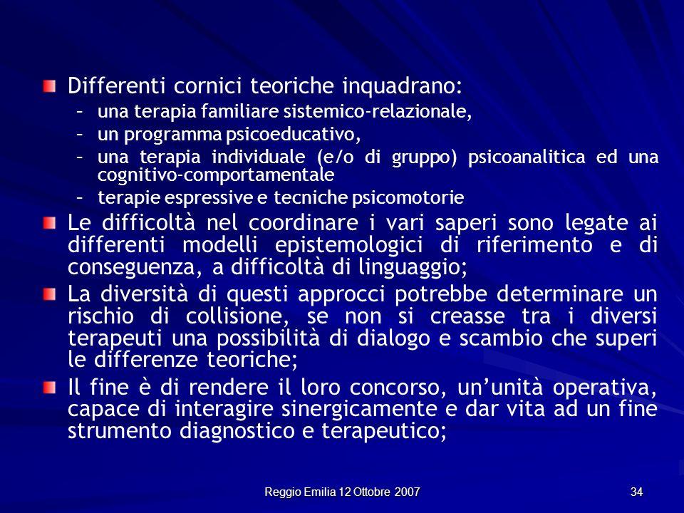 Reggio Emilia 12 Ottobre 2007 34 Differenti cornici teoriche inquadrano: –una terapia familiare sistemico-relazionale, –un programma psicoeducativo, –