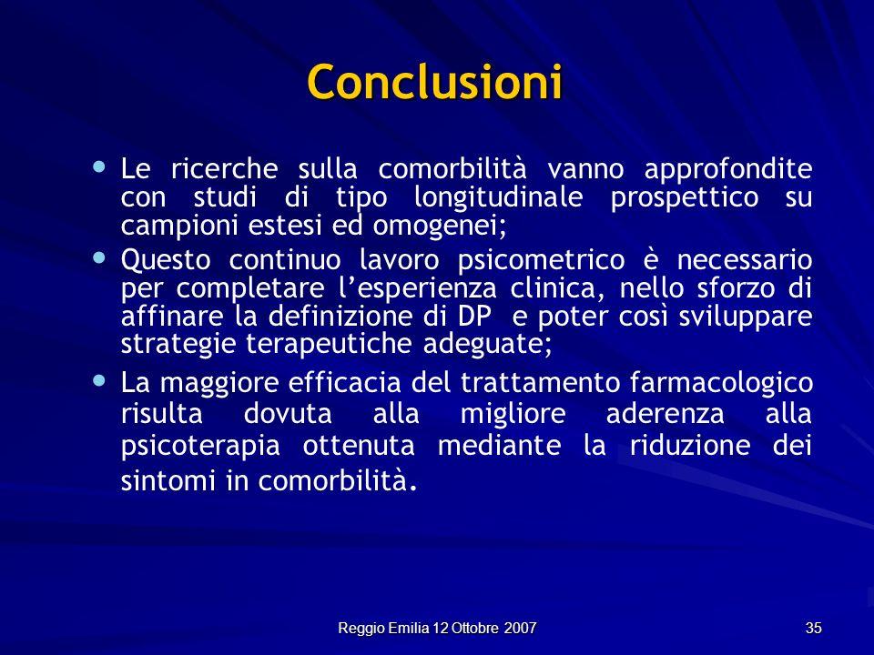 Reggio Emilia 12 Ottobre 2007 35 Conclusioni Le ricerche sulla comorbilità vanno approfondite con studi di tipo longitudinale prospettico su campioni