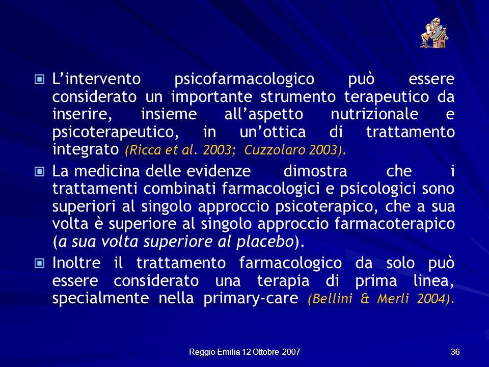 Reggio Emilia 12 Ottobre 2007 36 Lintervento psicofarmacologico può essere considerato un importante strumento terapeutico da inserire, insieme allasp