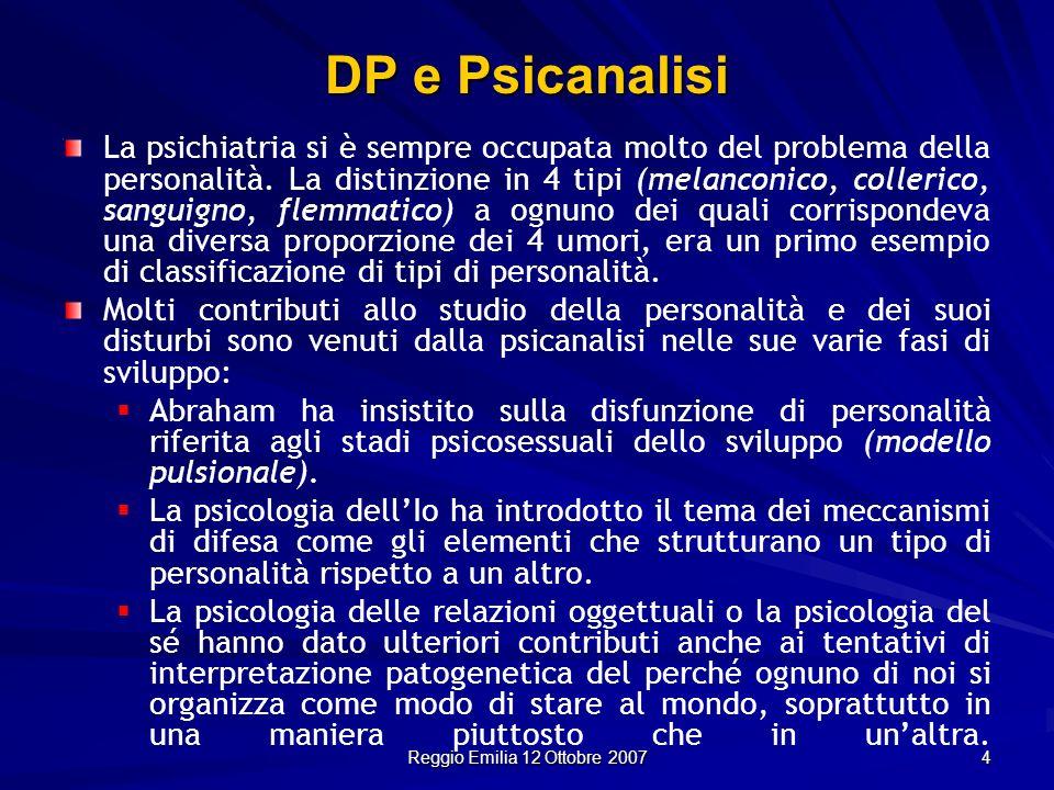 Reggio Emilia 12 Ottobre 2007 4 La psichiatria si è sempre occupata molto del problema della personalità. La distinzione in 4 tipi (melanconico, colle