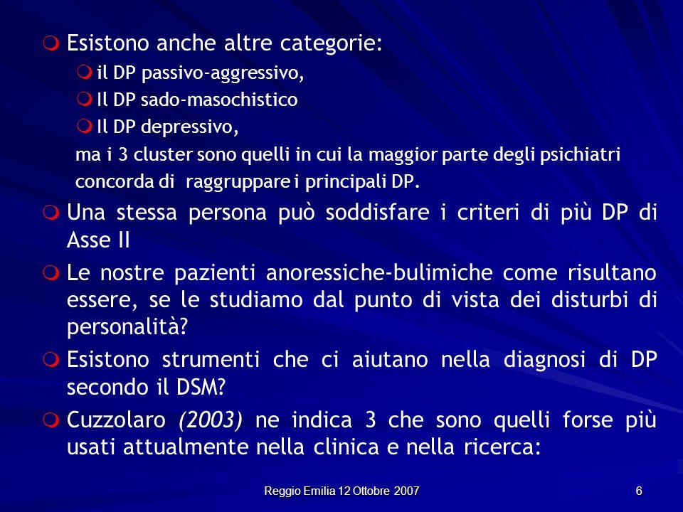 Reggio Emilia 12 Ottobre 2007 6 Esistono anche altre categorie: il DP passivo-aggressivo, Il DP sado-masochistico Il DP depressivo, ma i 3 cluster son