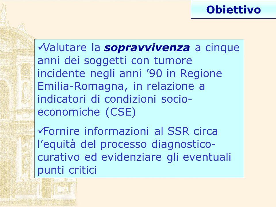 Valutare la sopravvivenza a cinque anni dei soggetti con tumore incidente negli anni 90 in Regione Emilia-Romagna, in relazione a indicatori di condiz