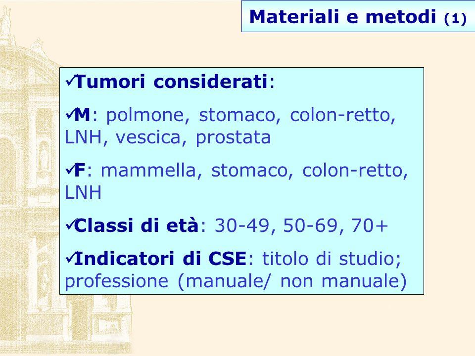 Materiali e metodi (1) Tumori considerati: M: polmone, stomaco, colon-retto, LNH, vescica, prostata F: mammella, stomaco, colon-retto, LNH Classi di e