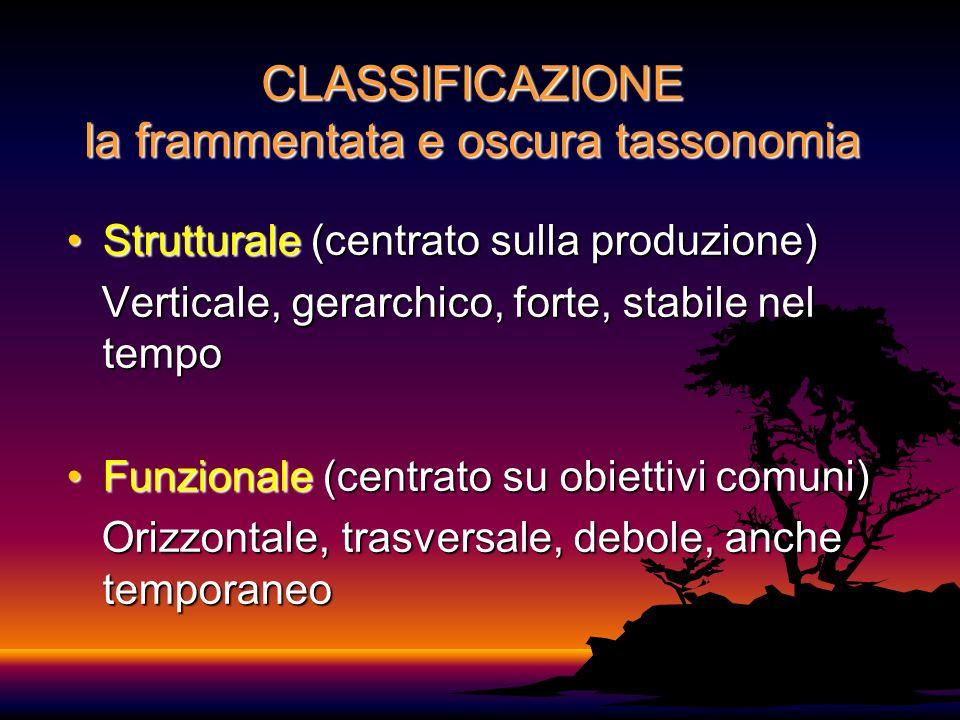 CLASSIFICAZIONE la frammentata e oscura tassonomia Strutturale (centrato sulla produzione)Strutturale (centrato sulla produzione) Verticale, gerarchico, forte, stabile nel tempo Verticale, gerarchico, forte, stabile nel tempo Funzionale (centrato su obiettivi comuni)Funzionale (centrato su obiettivi comuni) Orizzontale, trasversale, debole, anche temporaneo Orizzontale, trasversale, debole, anche temporaneo