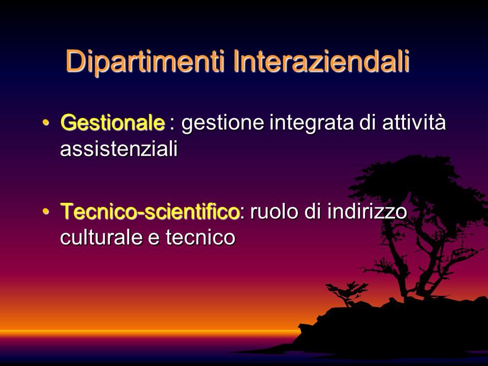 Dipartimenti Interaziendali Gestionale : gestione integrata di attività assistenzialiGestionale : gestione integrata di attività assistenziali Tecnico-scientifico: ruolo di indirizzo culturale e tecnicoTecnico-scientifico: ruolo di indirizzo culturale e tecnico