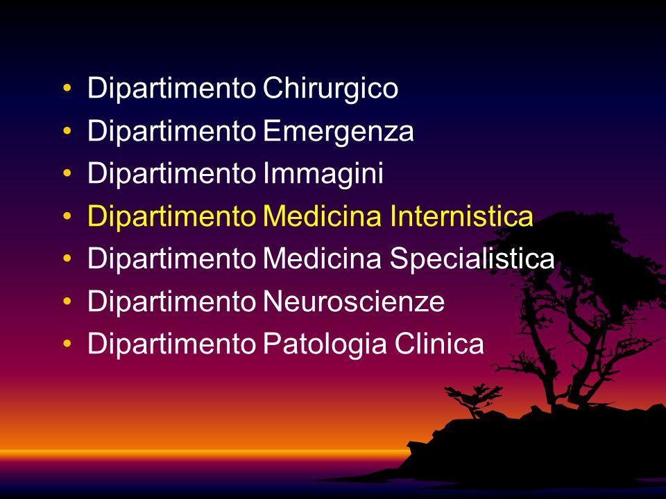Dipartimento Chirurgico Dipartimento Emergenza Dipartimento Immagini Dipartimento Medicina Internistica Dipartimento Medicina Specialistica Dipartimento Neuroscienze Dipartimento Patologia Clinica