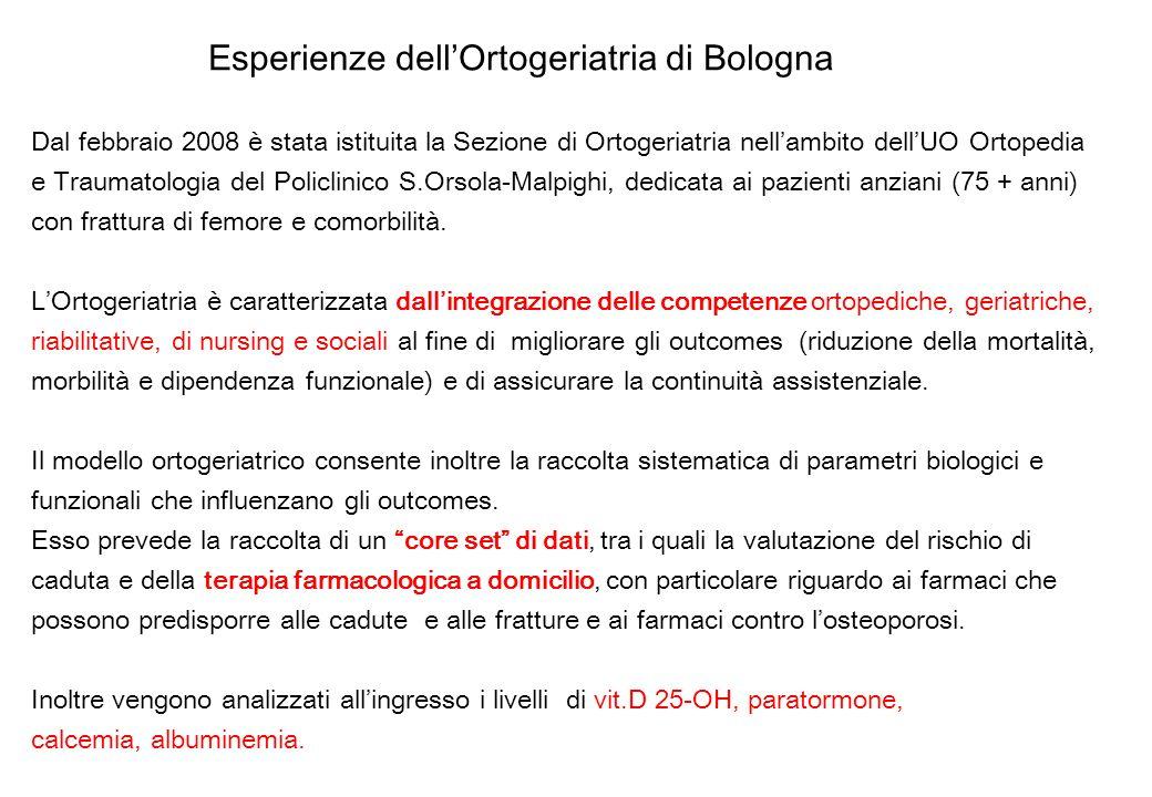 Esperienze dellOrtogeriatria di Bologna Dal febbraio 2008 è stata istituita la Sezione di Ortogeriatria nellambito dellUO Ortopedia e Traumatologia de