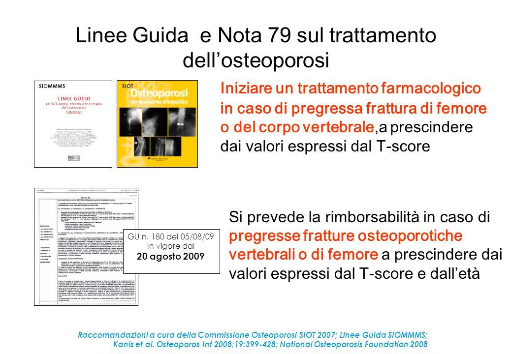 Linee Guida e Nota 79 sul trattamento dellosteoporosi Iniziare un trattamento farmacologico in caso di pregressa frattura di femore o del corpo verteb