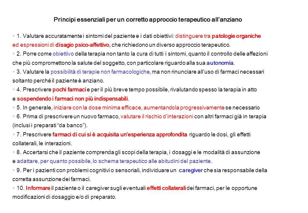 Principi essenziali per un corretto approccio terapeutico allanziano 1. Valutare accuratamente i sintomi del paziente e i dati obiettivi: distinguere