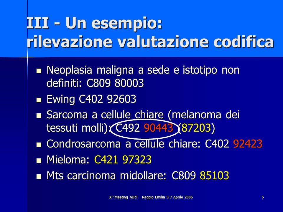 X° Meeting AIRT Reggio Emilia 5-7 Aprile 20065 III - Un esempio: rilevazione valutazione codifica Neoplasia maligna a sede e istotipo non definiti: C8