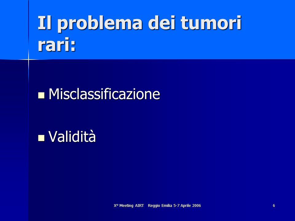 X° Meeting AIRT Reggio Emilia 5-7 Aprile 20066 Il problema dei tumori rari: Misclassificazione Misclassificazione Validità Validità