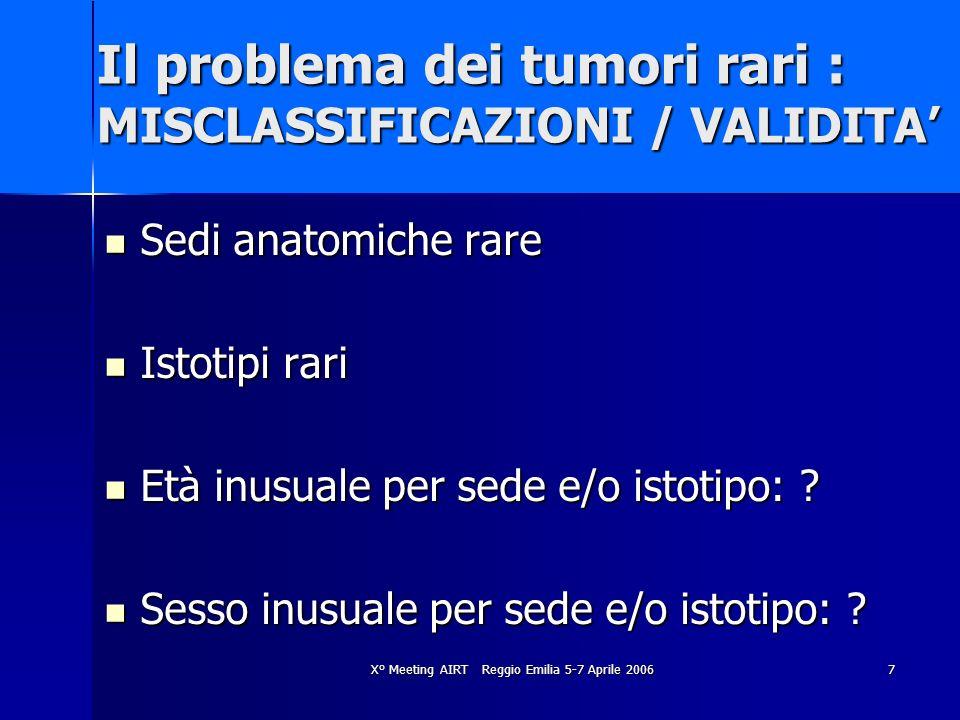 X° Meeting AIRT Reggio Emilia 5-7 Aprile 20067 Il problema dei tumori rari : MISCLASSIFICAZIONI / VALIDITA Sedi anatomiche rare Sedi anatomiche rare I