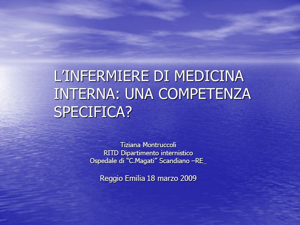 LINFERMIERE DI MEDICINA INTERNA: UNA COMPETENZA SPECIFICA? Tiziana Montruccoli RITD Dipartimento internistico Ospedale di C.Magati Scandiano –RE_ Regg