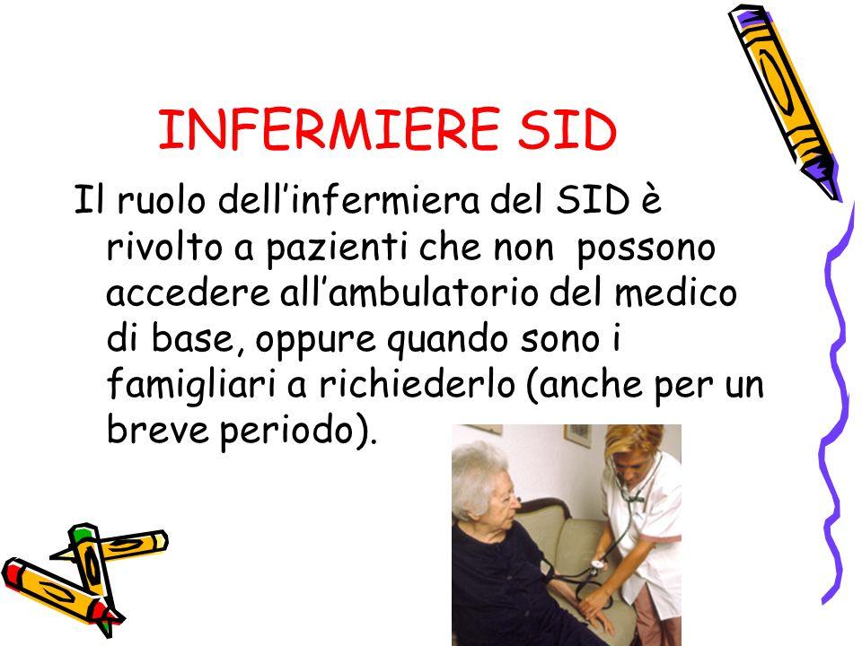 INFERMIERE SID Il ruolo dellinfermiera del SID è rivolto a pazienti che non possono accedere allambulatorio del medico di base, oppure quando sono i famigliari a richiederlo (anche per un breve periodo).