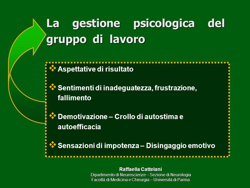 Raffaella Cattelani Dipartimento di Neuroscienze – Sezione di Neurologia Facoltà di Medicina e Chirurgia – Università di Parma La gestione psicologica