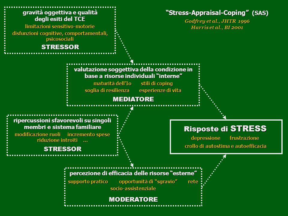 gravità oggettiva e qualità degli esiti del TCE limitazioni sensitivo-motorie disfunzioni cognitive, comportamentali, psicosociali STRESSOR ripercussi