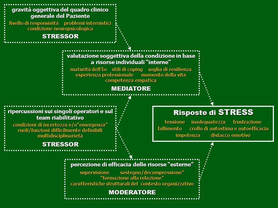 gravità oggettiva del quadro clinico generale del Paziente livello di responsività problemi internistici condizione neuropsicologica STRESSOR ripercus