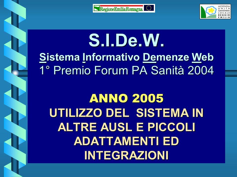 S.I.De.W. Sistema Informativo Demenze Web 1° Premio Forum PA Sanità 2004 ANNO 2005 UTILIZZO DEL SISTEMA IN ALTRE AUSL E PICCOLI ADATTAMENTI ED INTEGRA