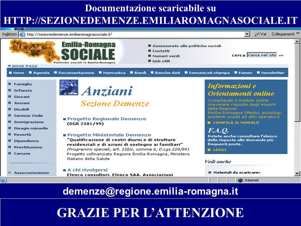 Documentazione scaricabile su HTTP://SEZIONEDEMENZE.EMILIAROMAGNASOCIALE.IT GRAZIE PER LATTENZIONE demenze@regione.emilia-romagna.it