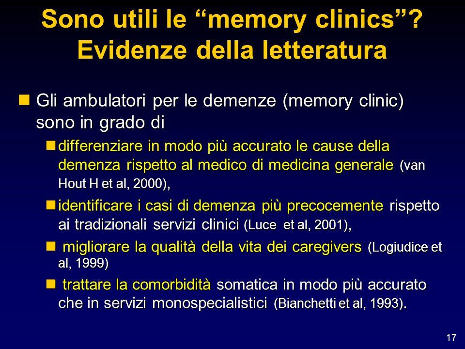 17 Sono utili le memory clinics? Evidenze della letteratura nGli ambulatori per le demenze (memory clinic) sono in grado di ndifferenziare in modo più