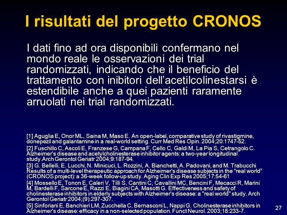 27 I risultati del progetto CRONOS I dati fino ad ora disponibili confermano nel mondo reale le osservazioni dei trial randomizzati, indicando che il
