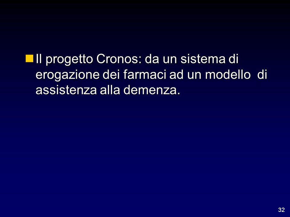 32 nIl progetto Cronos: da un sistema di erogazione dei farmaci ad un modello di assistenza alla demenza.