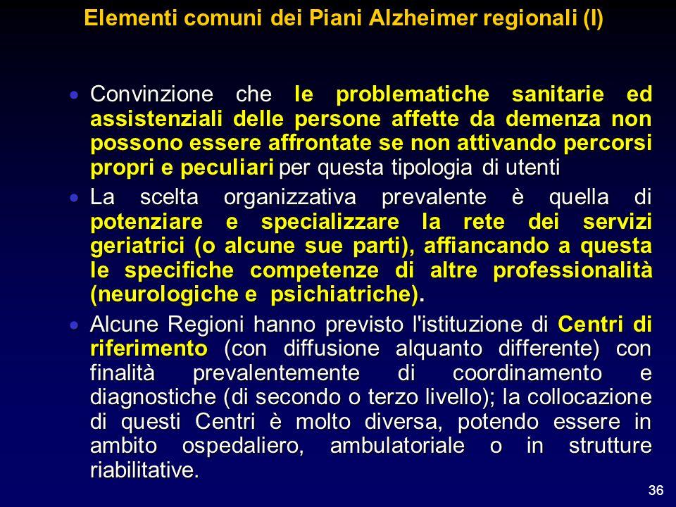 36 Elementi comuni dei Piani Alzheimer regionali (I) Convinzione che le problematiche sanitarie ed assistenziali delle persone affette da demenza non