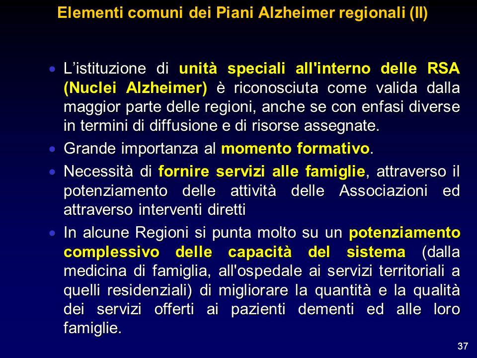 37 Elementi comuni dei Piani Alzheimer regionali (II) Listituzione di unità speciali all'interno delle RSA (Nuclei Alzheimer) è riconosciuta come vali