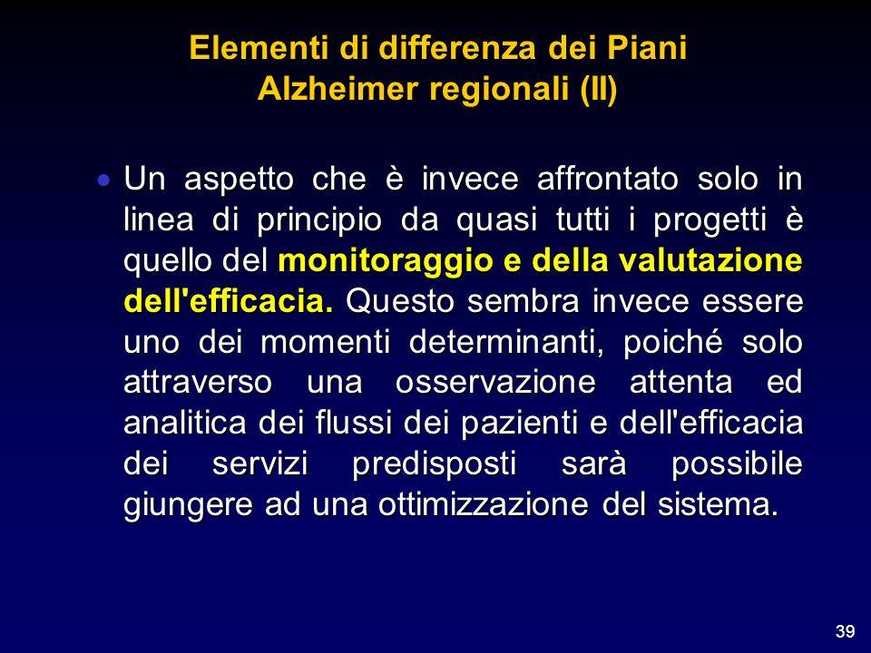 39 Elementi di differenza dei Piani Alzheimer regionali (II) Un aspetto che è invece affrontato solo in linea di principio da quasi tutti i progetti è